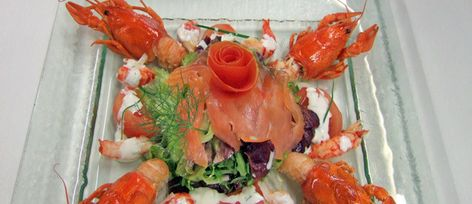 Crayfish Tails and Smoked Trout Salad with Frisée, Batavia and Lamb's Lettuce Salad + Hazelnut Oil Vinaigrette