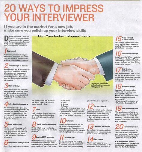 20 Ways To Impress Your Interviewer.