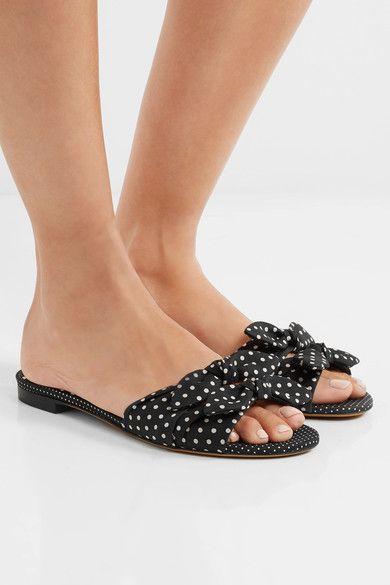 cb72499dc32f4 Tabitha Simmons - Cleo Bow-embellished Polka-dot Twill Slides - Black