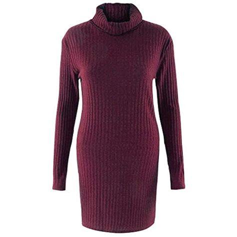 Fenido Damen Pullover Solide Pullover Kleider Frauen Casual