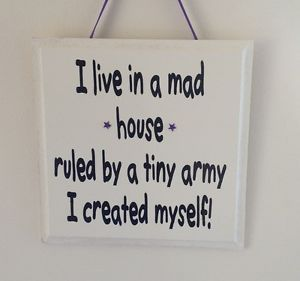 I Live In A Mad House - Tiny Army - Handmade wooden Plaque - Funny Gift