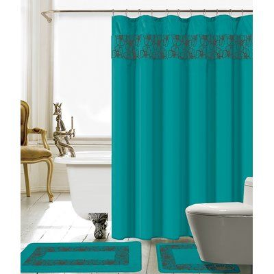 Red Barrel Studio Wellow Shower Curtain Set Colour Turquoise Grey