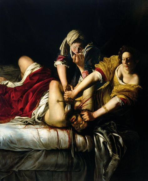 """View """"Judith Slaying Holofernes"""" at the Uffizi Gallery by Artemisia Gentileschi, one of the best female painters of the century after Caravaggio. Caravaggio, Baroque Painting, Baroque Art, Large Painting, Woman Painting, Artist Painting, Art Paintings, Watercolor Paintings, Michelangelo"""