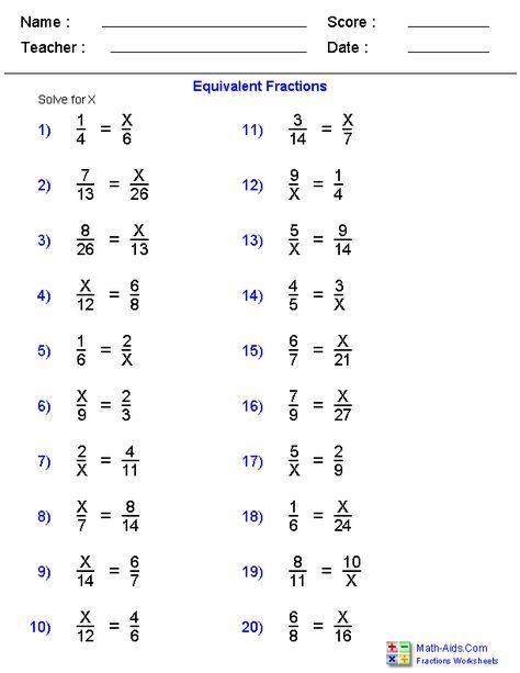 Equivalent Fraction Problems Worksheets | Fractions ...