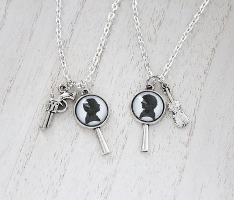 Sherlock holmes inspired necklace Simply Watson Jewelry in silver tone
