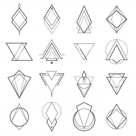 Set of minimalistic geometric elements Premium Vector