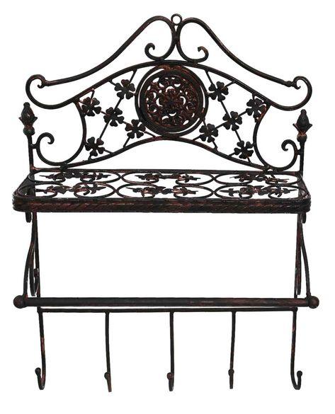 Antiques Garderobe Eisen Regal Wandregal Wandgarderobe Garten Regal Antik-Stil grün Antique Furniture