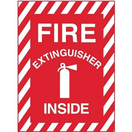 Zing Eco Safety Sign Fire Extinguisher Inside With Picto 10hx7w Recycled Polystyrene Self Adhesive Fire Extinguisher Fire Signs Recycling