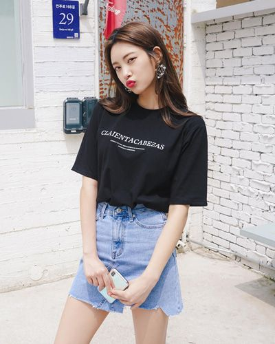 Lettering Print T Shirt Chlo D Manon Black Stylish Tee Koreanfashion Kstyle Kfashion Summertrend Dailylook 한국 스타일 패션 의상 패션 스타일