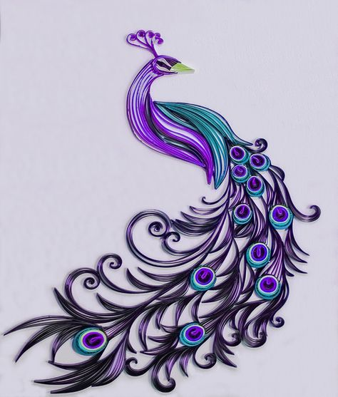 Quilling Archives - Page 5 of 10 - Crafting DIY CenterQuilling Archives - Page 5 of 10 - Crafting DIY CenterColor Me Peacock Purple Kunstdruck von DesignbyKiyomi Peacock Quilling, Arte Quilling, Paper Quilling Patterns, Quilled Paper Art, Quilling Paper Craft, Art Violet, Purple Art, Peacock Painting, Peacock Art