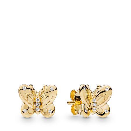 Decorative Butterflies Earrings, Pandora Shine™, 18ct Gold Plated ...