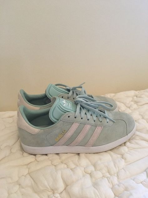 Mint green adidas gazelle sneakers in impressive condition