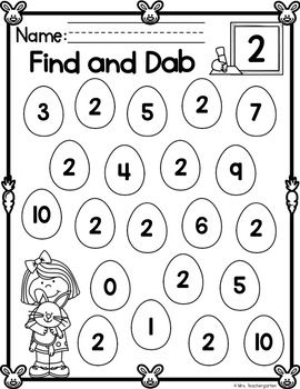 Easter Find And Dab Numbers 0 20 By Mrs Teachergarten Tpt In 2020 Dab Bingo Dauber Coloring Pages