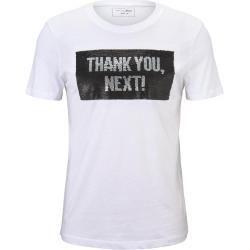 Tom Tailor Denim Herren T Shirt mit Wendepailletten, weiß
