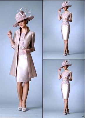 Online Shop 2015 Custom Made Mother of The Bride Dresses Knee Length With Long Coat Wedding Guest Outfit High Quality Handwork Free Shipping Aliexpress Mobile