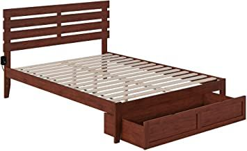 Atlantic Furniture Oxford Bed With Foot Drawer And Usb Turbo Charger Queen Walnut In 2020 Atlantic Furniture Solid Wood Platform Bed Furniture
