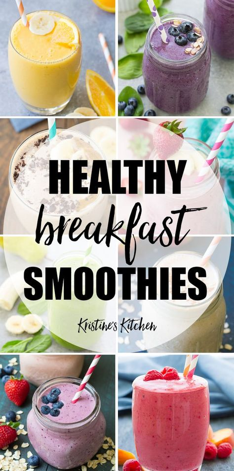 Make breakfast easy with these healthy breakfast smoothies! These healthy smoothies provide filling fiber and protein to give you energy all morning! These healthy smoothie recipes include smoothies for kids, oatmeal smoothies, fruit smoothies such a Fruit Smoothie Recipes, Healthy Breakfast Smoothies, Easy Smoothies, Strawberry Smoothies, Blueberry Breakfast, Strawberry Blueberry, Protein Fruit Smoothie, Eat Clean Smoothies, Healthy Breakfasts