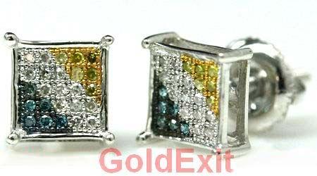 0.20 ct Cubic Zirconia CZ Diamond Stud Earrings for Women Girl Screw Back Diamond Scotch 14k White Gold Over Earrings