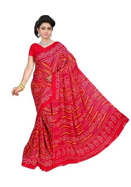 a17fa5145e Red Bandhani Saree Geometric Pattern Chunri Print Saree