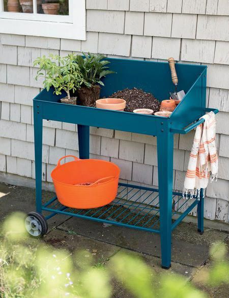 Demeter Metal Potting Bench Mobile Potting Bench On Sale Now In 2020 Potting Bench Metal Raised Garden Beds Pallets Garden