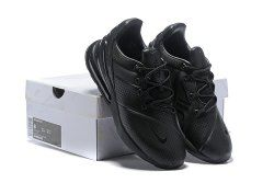 Excellent Men's Nike Air Max 270 Premium Leather All Black AO8283 010 Boys Running Shoes Summer Sneakers AO8283 010