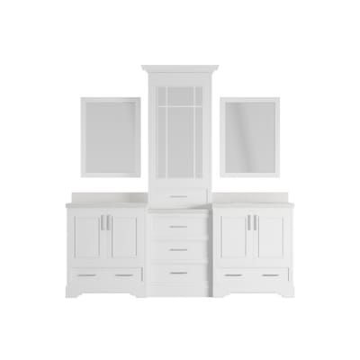 Ariel Stafford 85 In Bath Vanity In White With Quartz Vanity Top In White With White Basins And Mirror M085d Wht The Home Depot Quartz Vanity Tops Vanity Top Solid Wood Cabinets