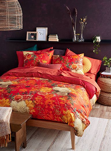 Expressive Flower Duvet Cover Set, Trendy Bedding Sets