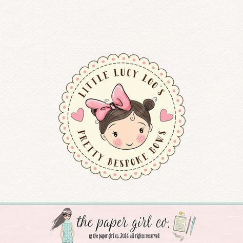 bow shop logo boutique logo little girl logo by ThePaperGirlCo