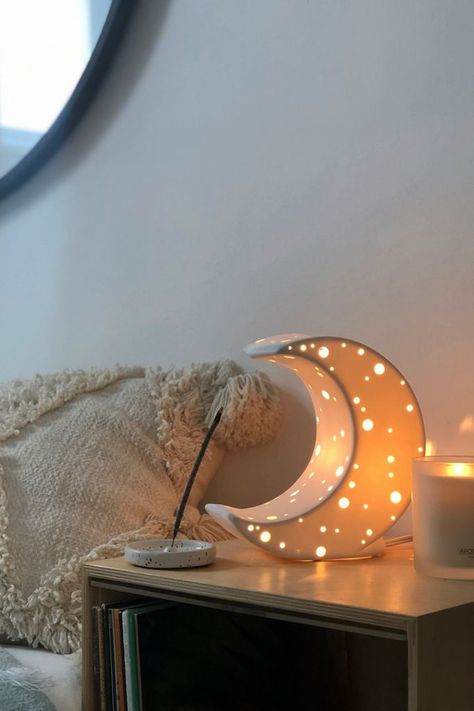 Like a lunar glow, this crescent-shaped table lamp sends a luminous light through your space. Made from ceramic with little perforations for a glimmering light. Plugs in to power on Cute Room Decor, Teen Room Decor, Small Room Decor, Moon Table, Aesthetic Room Decor, Cozy Room, Dream Rooms, My New Room, Decoration