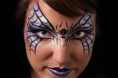 Spider mask Halloween face paint idea
