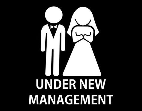 JUST MARRIED/' ***Funny mens Marriage /'UNDER NEW MANAGEMENT Wedding T-shirt.