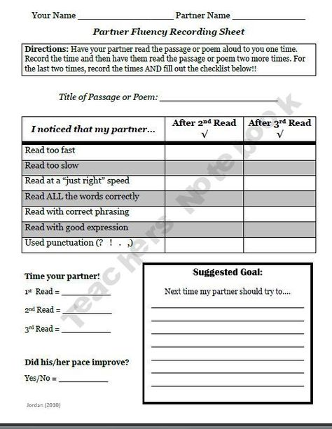 The Partner Fluency Form is for paired reading! Students help each other record pace, reflect, set goals, and offer suggestions! Use this activity during Daily 5, Literacy Centers... even when you need to get TESTING done!