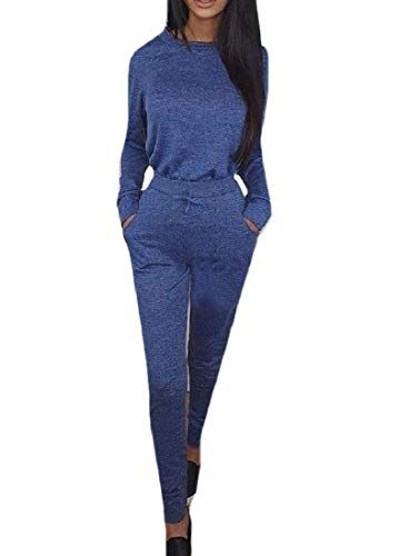 XTX Womens Vogue Bodycon Printed Long Sleeve Slim Fit Long Rompers Jumpsuits