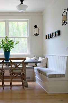 Something so cozy about bench seating in kitchen! Kitchen Bench ...