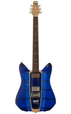 Ebay Auction For Rare Guitar Skyy Vodka Rks Guitar Dave Mason Electric Guitar Translucent Blue Hollow Body