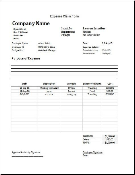 Expense Claim Form Download At HttpWwwBizworksheetsCom