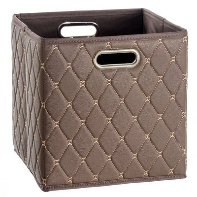 Mercer41 Faux Leather Storage Bin Color Brown Cube Storage Bins Cube Storage