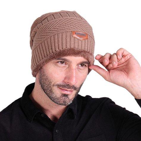 Men Soft Lined Thick Wool Knit Skull Cap Warm Winter Slouchy Beanies Hat -  Khaki - 759059a314e