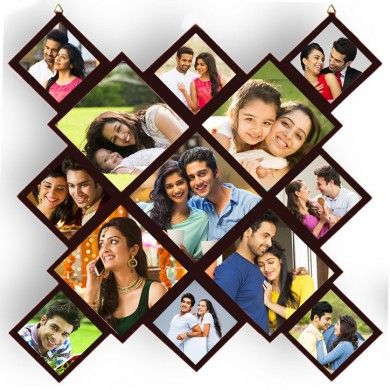 Wooden Printed Photo Collage With 13 Pictures Photo Wall Collage