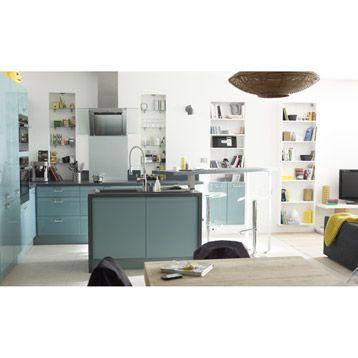 Meuble de cuisine DELINIA, composition type Crystal ciel, bleu ...