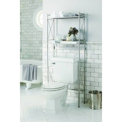 Square Tube Over The Toilet Etagere Brushed Nickel Threshold Small Bathroom Storage Units Shelving Unit
