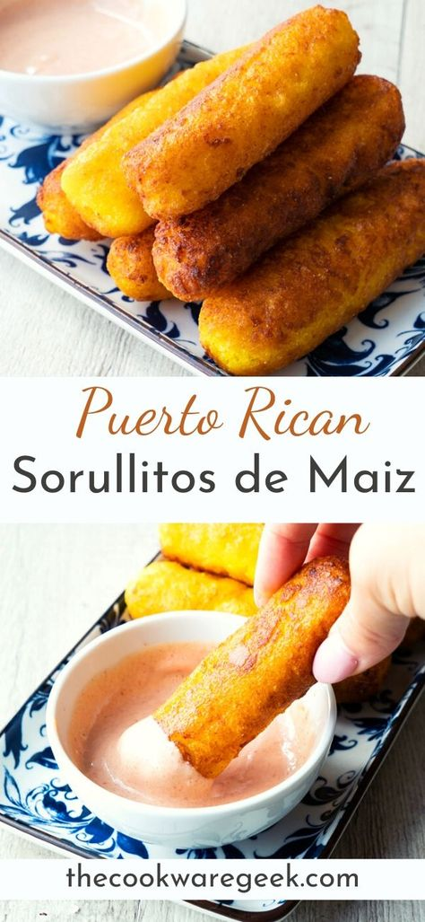Authentic Puerto Rican Sorullitos de Maiz y Queso (corn and cheese fritters. Easy appetizer recipe with only 5 ingredients and in 20 minutes or less. A cheesy crowd-pleaser. Puerto Rican Dishes, Puerto Rican Cuisine, Puerto Rican Recipes, Mexican Food Recipes, Puerto Rican Flan, Puerto Rican Appetizers, Sweet Recipes, Comida Boricua, Boricua Recipes