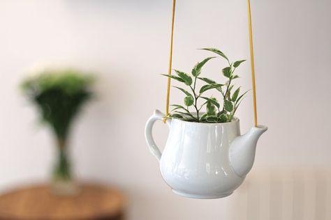 Tuto: une plante suspendue dans une théière en céramique 7