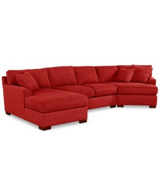 Carena 3 Pc Fabric Sectional With Cuddler Chaise Created For Macy S Macys Com Cuddler Sectional Furniture Fabric Sectional
