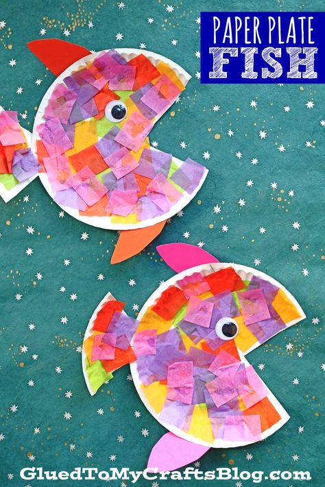 Paper Plate & Tissue Paper Tropical Fish - Kid Craft After reading the. - Paper Plate & Tissue Paper Tropical Fish – Kid Craft After reading the story to my son, - Paper Plate Crafts For Kids, Paper Crafting, Craft Kids, Toddler Paper Crafts, Simple Crafts For Kids, Craft Work For Kids, Ocean Kids Crafts, Arts And Crafts For Kids Toddlers, Dinosaur Crafts Kids