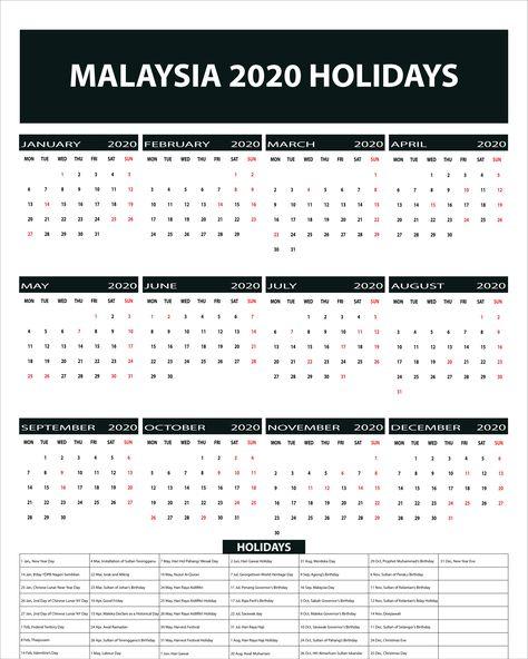 Free Blank Printable Malaysia Public Holidays 2020 Calendar
