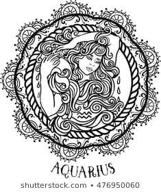 Detailed Aquarius in aztec filigree line art zentangle style