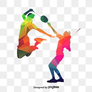 Sport Silhouette Figures Silhouette Prismatic Color Play Badminton Sports Figures Png Transparent Clipart Image And Psd File For Free Download Badminton Graphic Design Background Templates Clip Art