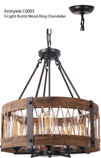 Anmytek C0003 5 Light Rustic Wood Ring Chandelier Rustic
