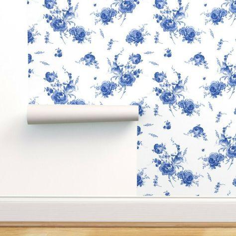 Wallpaper Roll Blue Navy Indigo Floral Flowers Boho Nursery 24in x 27ft